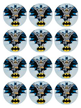 Juego de 12 Impresiones en Papel de Azúcar Batman