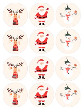 Juego de 12 Impresiones en Papel de Azúcar Navidad B