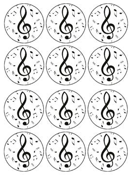 Juego de 12 Impresiones en Papel de Azúcar Notas Música