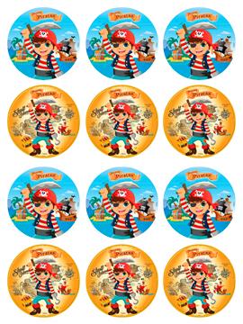 Juego de 12 Impresiones en Papel de Azúcar Piratas