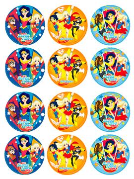 Juego de 12 Impresiones en Papel de Azúcar Super Hero Girls