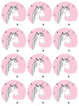 Juego de 12 Impresiones en Papel de Azúcar Unicornio