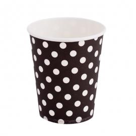 Juego de 12 Vasos Negros con Lunares