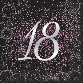 Juego de 16 Servilletas 18 Cumpleaños Rosa