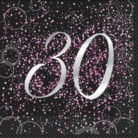 Juego de 16 Servilletas 30 Cumpleaños Rosa