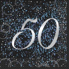 Juego de 16 Servilletas 50 Cumpleaños Azul