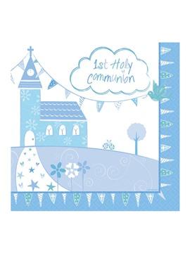 Juego de 16 Servilletas Comunión Iglesia Azul