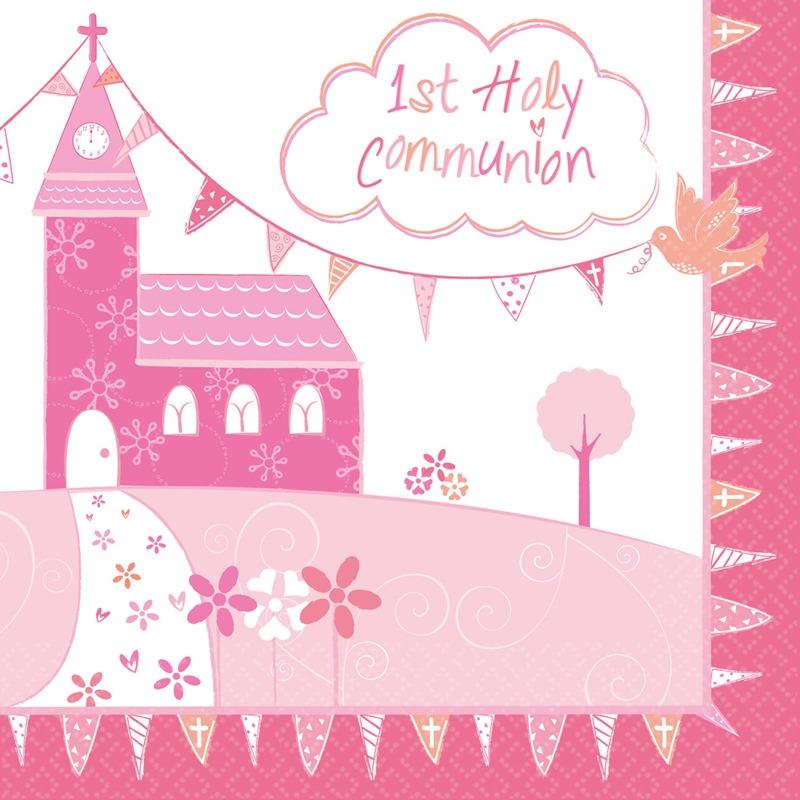 Juego de 16 Servilletas Comunión Iglesia Rosa