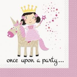 Juego de 16 Servilletas Princesa y Unicornio