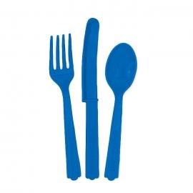 Juego de 18 cubiertos de plástico Azul Intenso