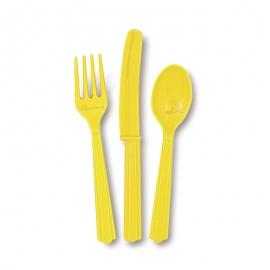 Juego de 18 Cubiertos de Plástico color amarillo