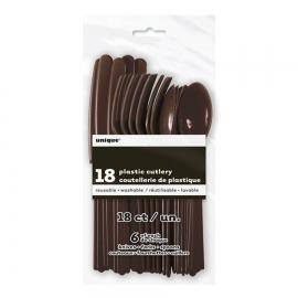 Juego de 18 cubiertos de plástico Marrón Chocolate