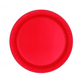 Juego de 20 Platos Rojos 17 cm