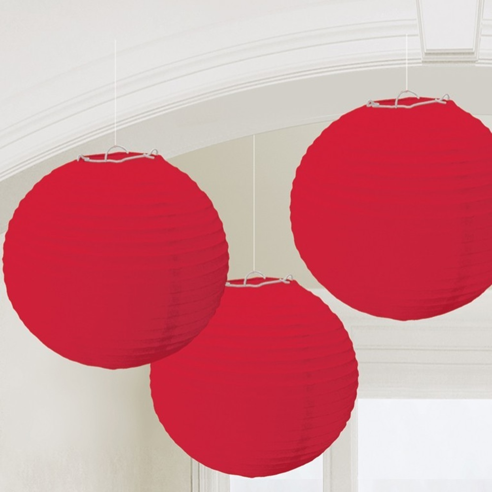 Juego de 3 Farolillos Rojos 24 cm
