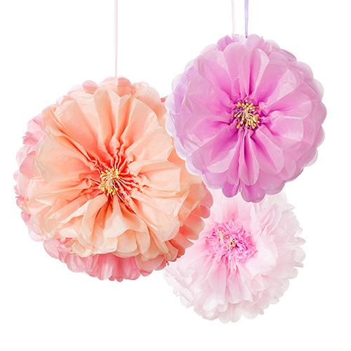 Juego de 3 Pompones Florales