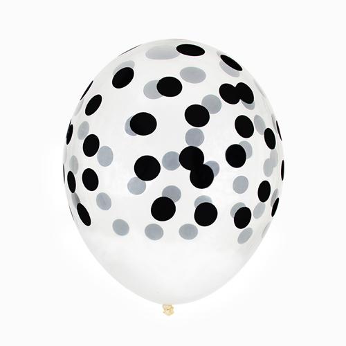 Juego de 5 globos transparentes con lunares negros