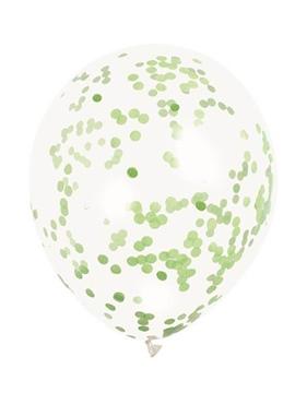 Set de 6 Globos Transparentes con Confeti Verde Lima