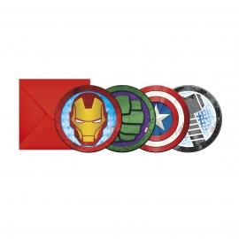 Juego de 6 Invitaciones Vengadores Power