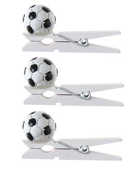 Juego de 6 Pinzas de Madera Balón de Fútbol