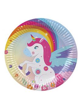Juego de 6 Platos Unicornio Arcoíris 18 cm