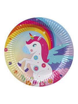 Juego de 6 Platos Unicornio Arcoíris 23 cm