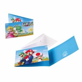 Juego de 8 Invitaciones Super Mario