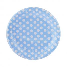 Juego de 8 Platos Azules con Lunares Blancos 23 cm - Miles de Fiestas