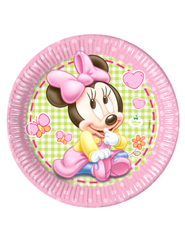 Juego de 8 Platos Minnie Bebé 22 cm