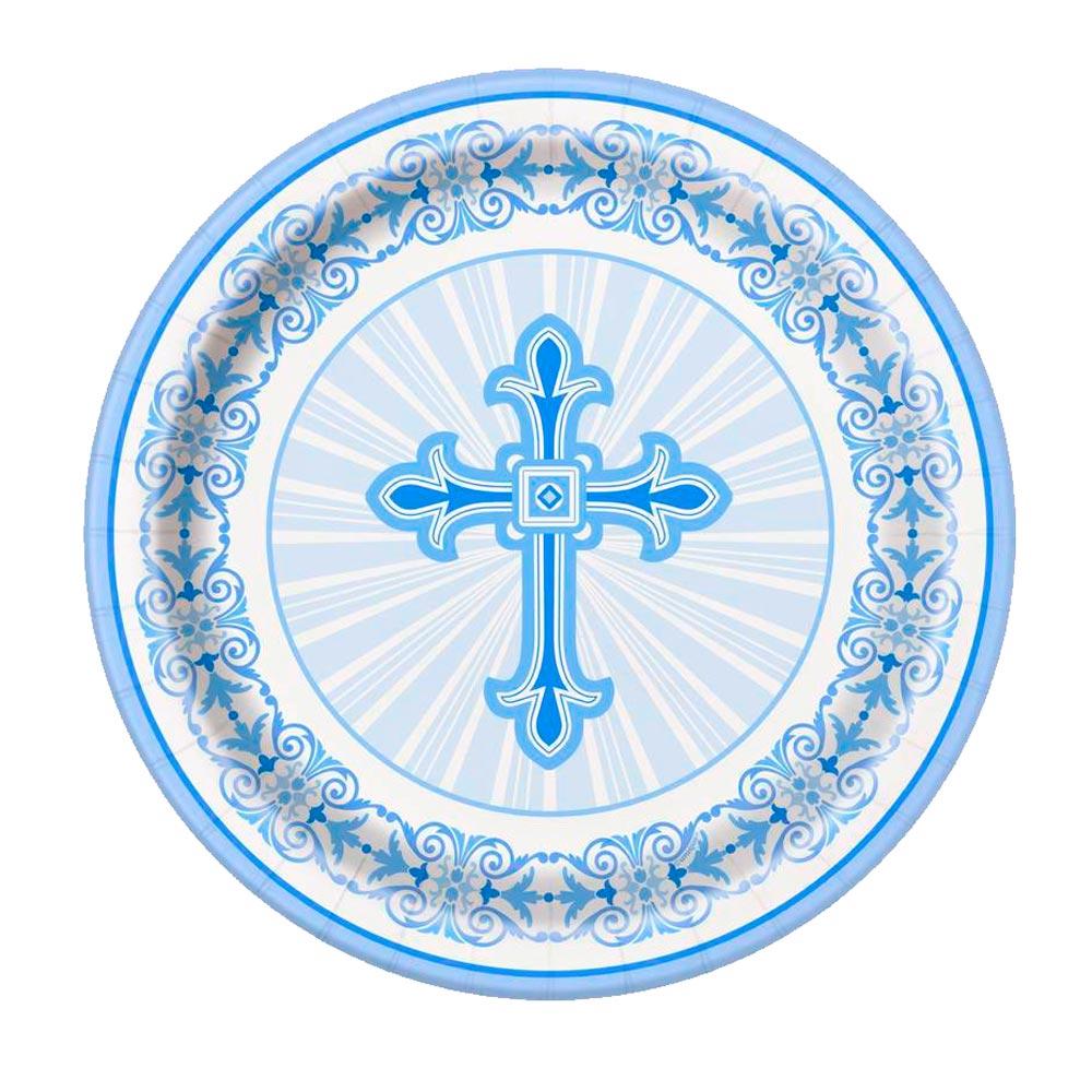 Juego de 8 Platos Comunión Cruz Azul 17 cm  464f986cb0d