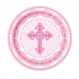 Juego de 8 Platos Comunión Cruz Rosa 17 cm