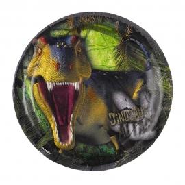 Juego de 8 Platos Dinosaurios Attack 18 cm