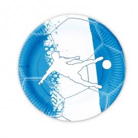 Juego de 8 Platos Fútbol Azul y Blanco