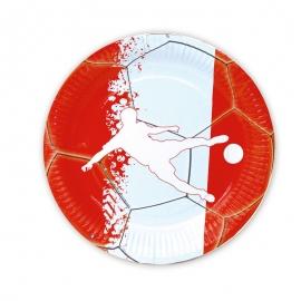 Juego de 8 Platos Fútbol Rojo y Blanco