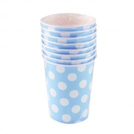 Juego de 8 Vasos Azules con Lunares Blancos - Miles de Fiestas