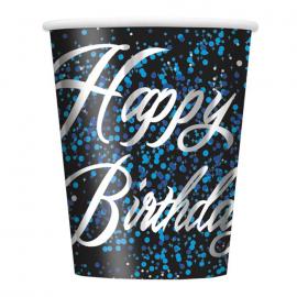 Juego de 8 Vasos Happy Birthday Azul