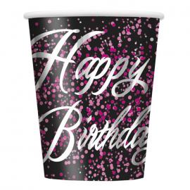 Juego de 8 Vasos Happy Birthday Rosa