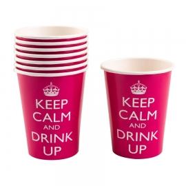 Juego de 8 vasos Keep Calm color rosa