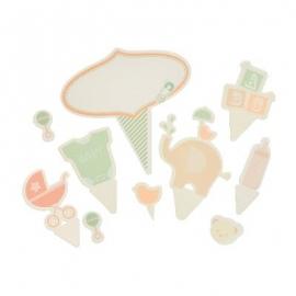 Juego de toppers para tartas y cupcakes bebé