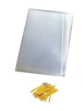 Juego de 100 bolsas de celofán con tirita de 10 x 15 cm