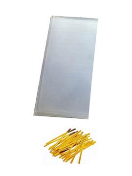 Juego de 100 bolsas de celofán con tirita de 10 x 25 cm
