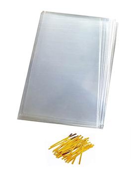 Juego de 100 bolsas de celofán con tirita de 12 x 18 cm