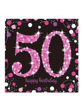 16 Servilletas para 50 cumpleaños Pink Sparkling