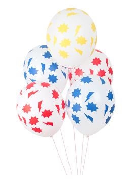 Juego de 5 globos de 30 cm en distintos colores de superhéroes