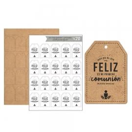 Kit de 20 Etiquetas de Madera Comunión Blanco