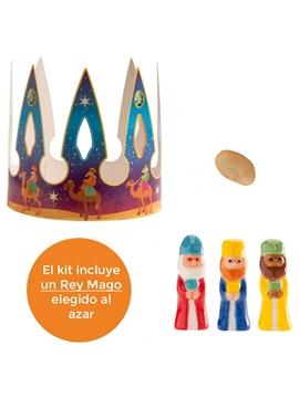 Kit Figuras Roscón de Reyes Rey, Haba y Corona Gigante