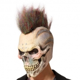 Máscara de Látex Calavera con Cresta Punky