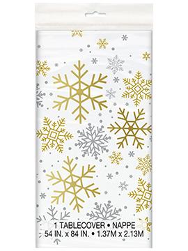 Mantel de Plástico Copos de Nieve