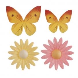 Margaritas y Mariposas de Oblea 8 ud