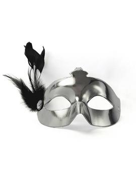 Máscara Plateada con Pluma