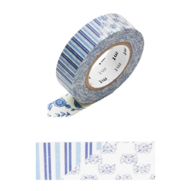 Masking Tape 1P Flower Dark Blue